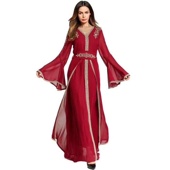 Jual Elegan Bordir Abaya Maxi Gaun Pesta Panjang Jubah Gowns Muslim