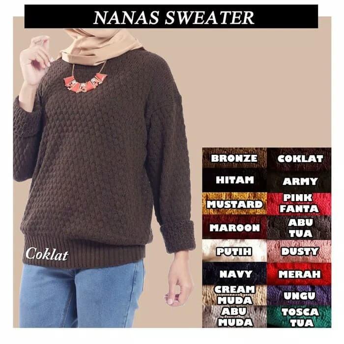 harga Baju rajut wanita korea roundhand nanas best seller sweater murah Tokopedia.com
