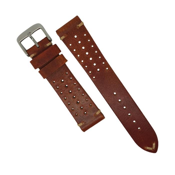 harga 22 mm - rally style strap - tali jam tangan kulit - coklat muda tan Tokopedia.com