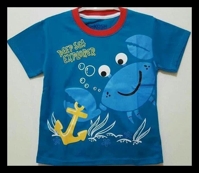 Kaos Anak Oshkosh Size 1-6 Crab Biru|Kaos Anak Karakter Laki-Laki