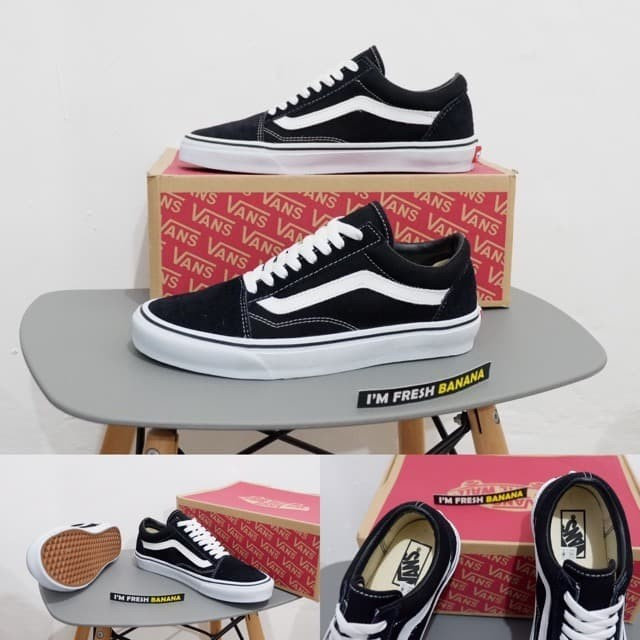 100 Premium Sepatu Vans Old Skool Cork Twill Black Brown Hitam Navy