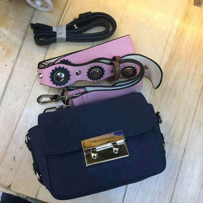 Foto Produk Tas wanita Supplier grosir tas wanita branded ZARA DOUBLE LOCK SUEDE - Kuning dari sopaybags