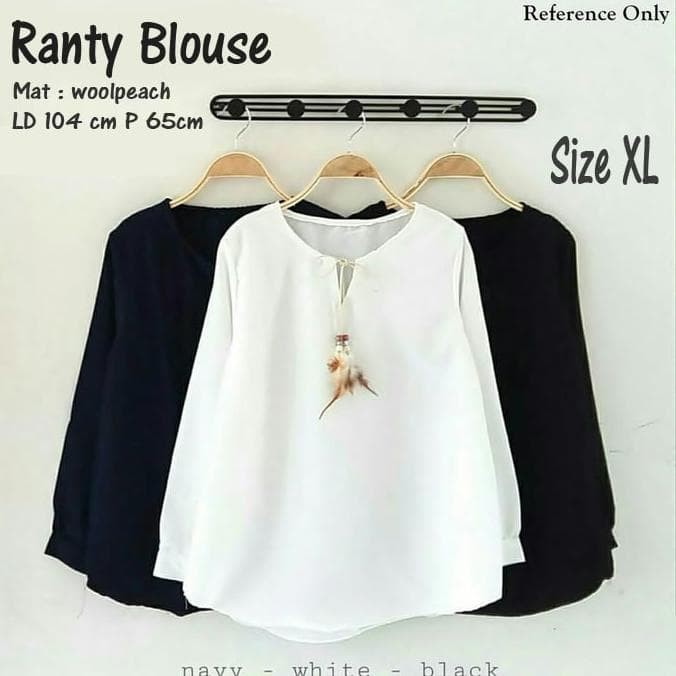 Baju atasan ranty blouse tunik baju muslim blus muslim - navy