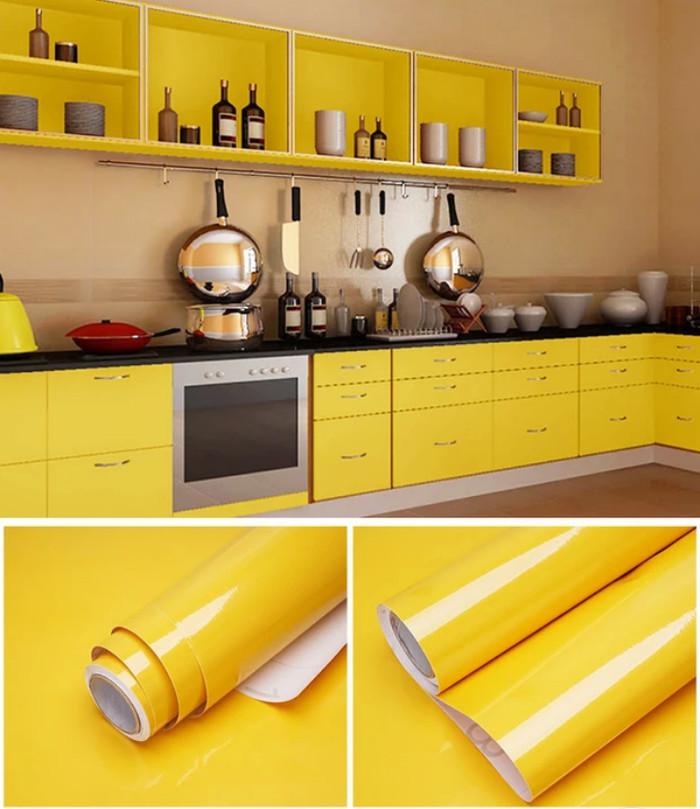 jual wallpaper sticker dinding kuning premium glossy yellow kilat