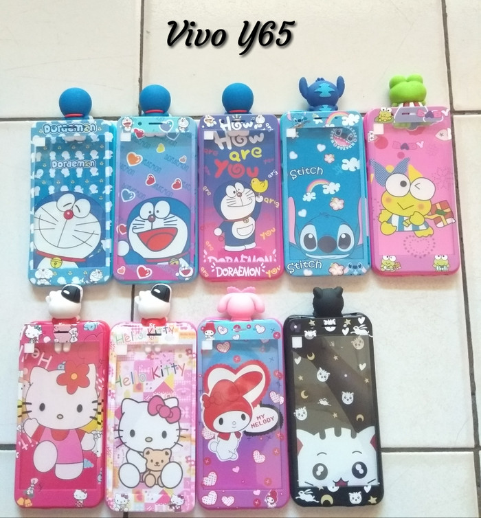 Foto Produk softcase+tempered glass karakter vivo Y65 doraemon hello kitty stitch dari dyrenzcell