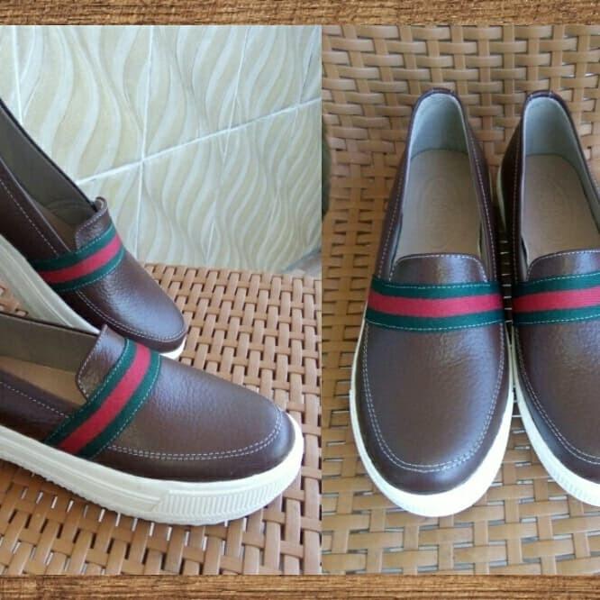 Jual Sepatu Kulit Slip On Wanita Asli Garut model Gucci 2 - Ardaff ... b227cca724