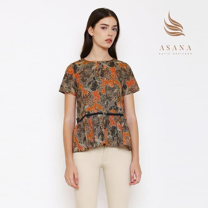 O asana sriwedari woman blouse batik wanita - orange - orange m