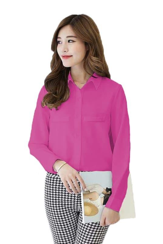 Jfashion Korean Style Plain Shirt Long SLeeve - Ummi - Merah Muda