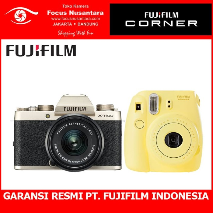 harga Fujifilm x-t100 kit xc 15-45mm f/3.5-5.6 ois pz (gold) + instax mini 8 Tokopedia.com