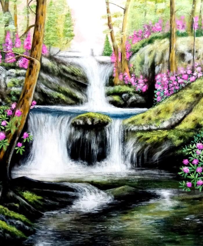 Jual Lukisan Air Terjun Mata Air Pegunungan Kota Denpasar