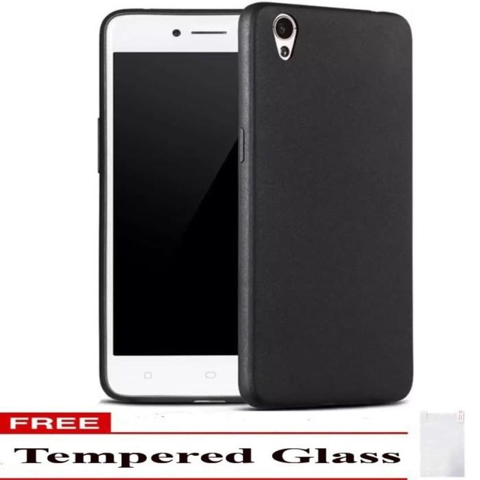 Case Black Slime Matte + Tempered Glass Oppo A37 / Oppo Neo 9 - Hitam