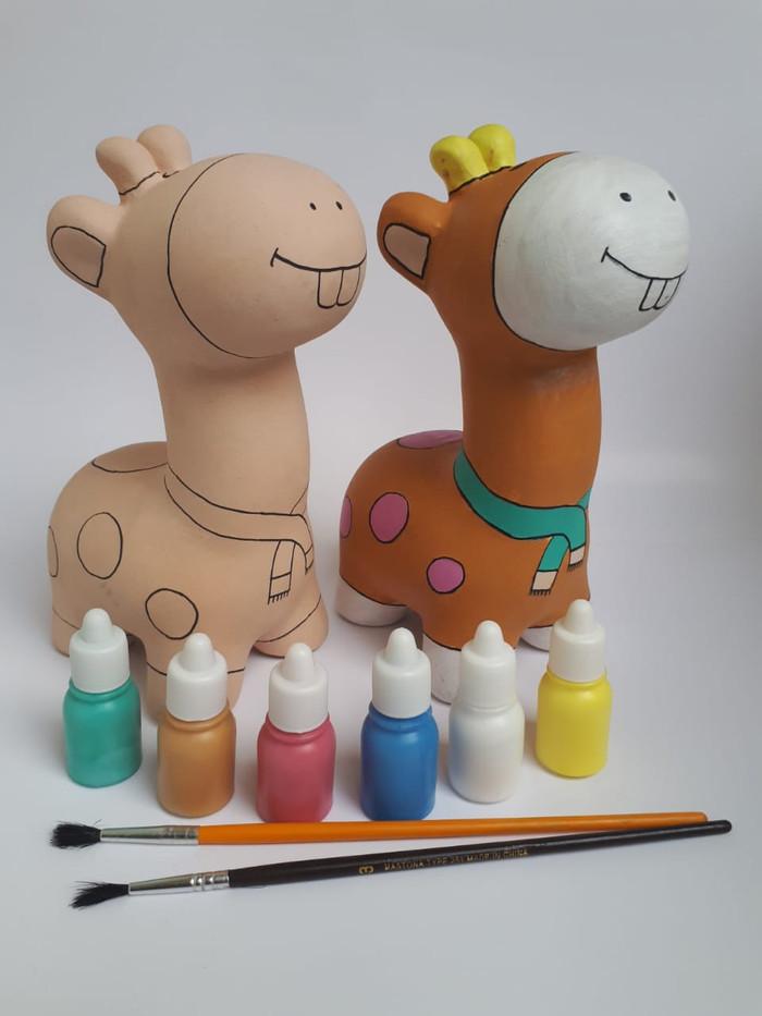Jual Mainan Edukasi Unik Mewarnai Patung Celengan Keramik Jerapah