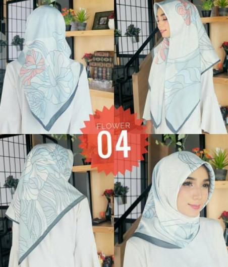 Hijab Jilbab Segiempat Printing Flower Model Scraft Maxmara - NO I