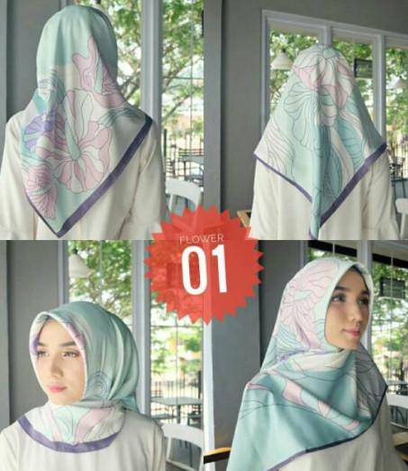 Hijab Jilbab Segiempat Printing Flower Model Scraft Maxmara - NO II