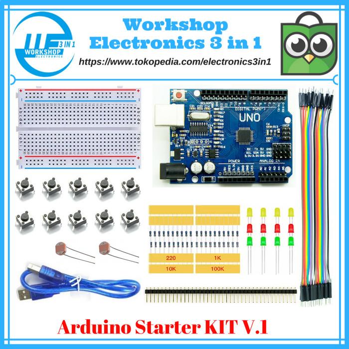 Foto Produk Arduino UNO R3 Starter KIT Versi 1 / Arduino Starter Learning KIT dari Electronics 3 in 1