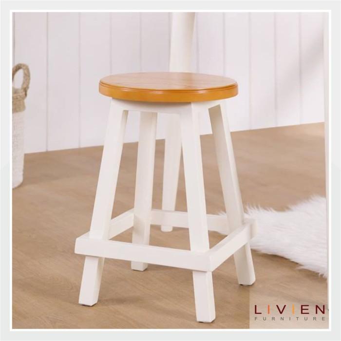 Livien - round stool maple series (s) / bangku bundar - cokelat