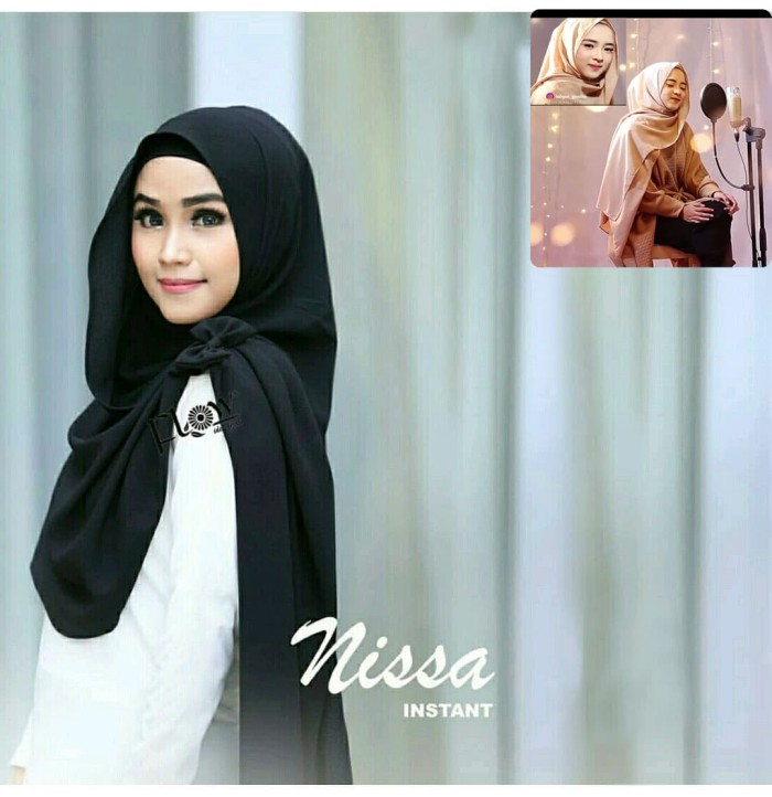 Jual Pashmina Instan Nissa Sabyan Hitam Grosir Jilbab Motif Hijab Kota Bandung Al Rasyid Hifashion Tokopedia