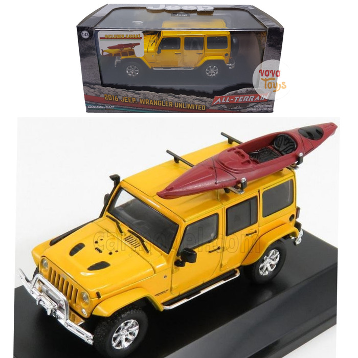Greenlight 1:43 Jeep Wrangler 2016 Yellow with Kayak All Terrain