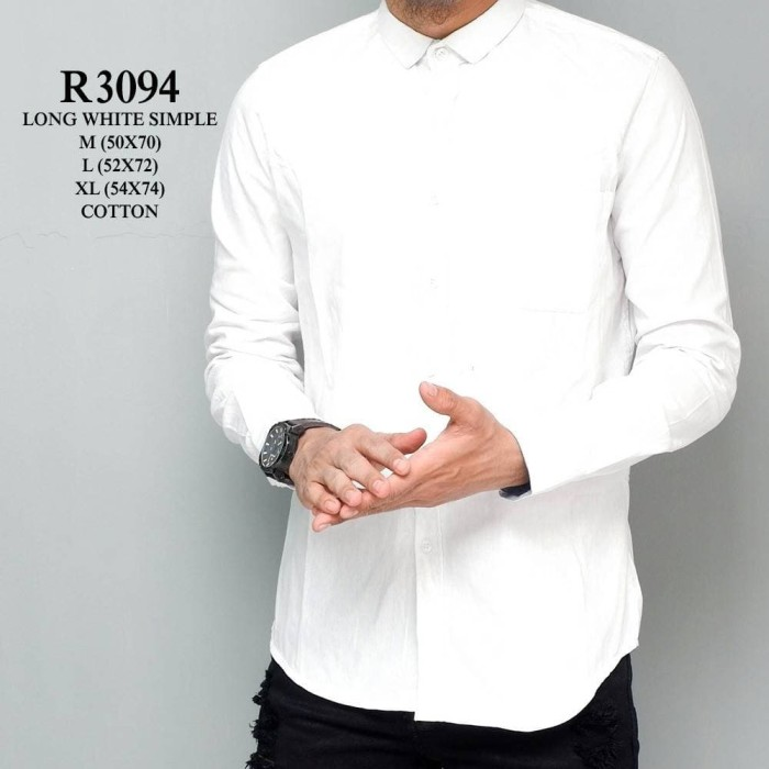 Jual R3094 Long White Simple Baju Kemeja Putih Polos Pria Lengan