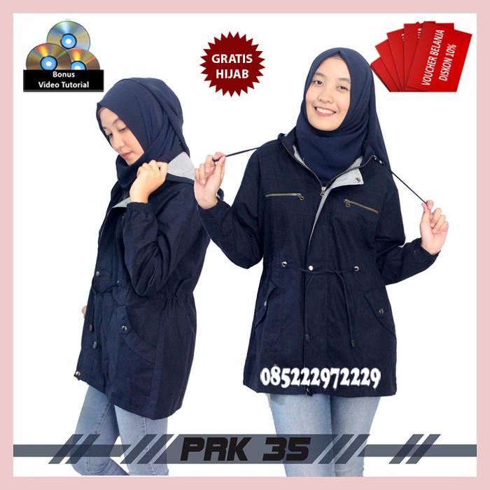 Jual TERBAGUS !!! Jaket Parka Hodie Kanvas Premium Wanita Navy ... 6de3c12753