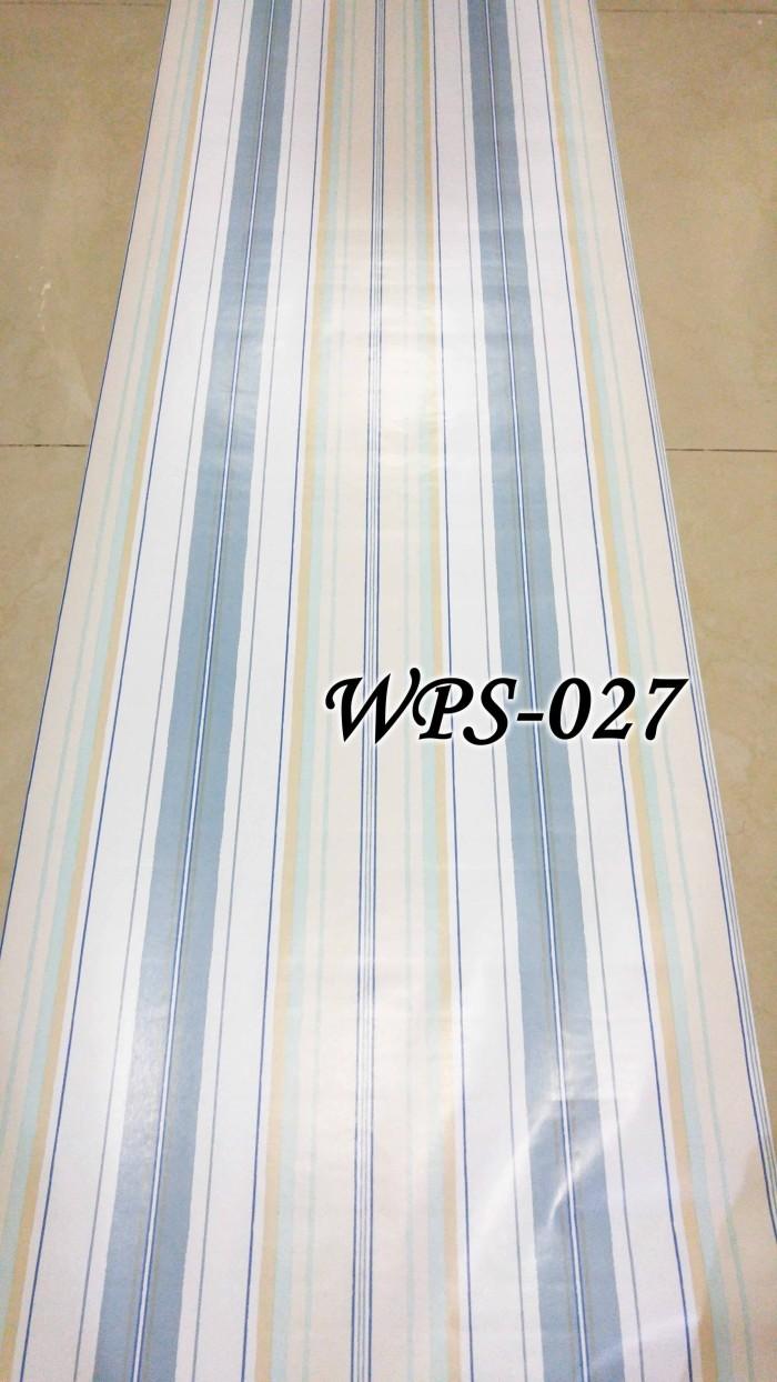 Wps027 Putih Kombinasi Garis Biru Wallpaper Sticker Wal Paper Dinding