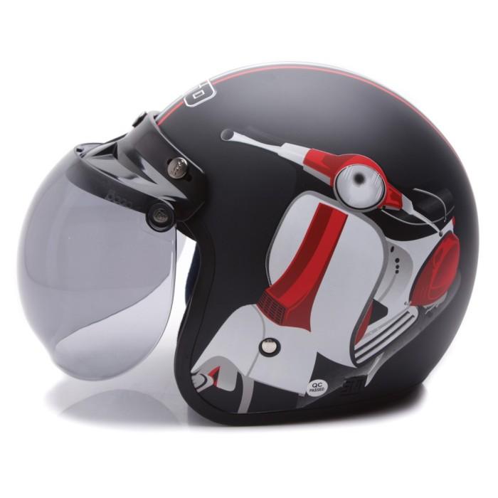 New Item! [COUPLE HELM DEWASA] WTO Helmet Retro Bogo - Vespa - Krem 2