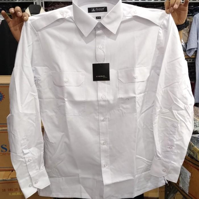 Foto Produk Kemeja Pria Alisan Putih Kantong Dua Pangkat Dinas Lengan Panjang - Putih, M dari Mega Hero Shirts