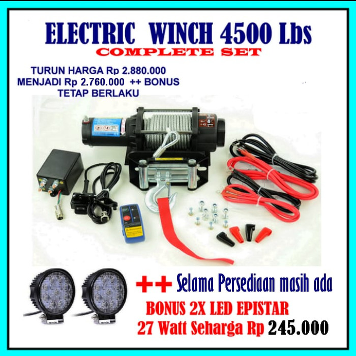 harga Winch 4500 lbs (2040kg)offroad electric winch jeep jip jimny atv winch Tokopedia.com