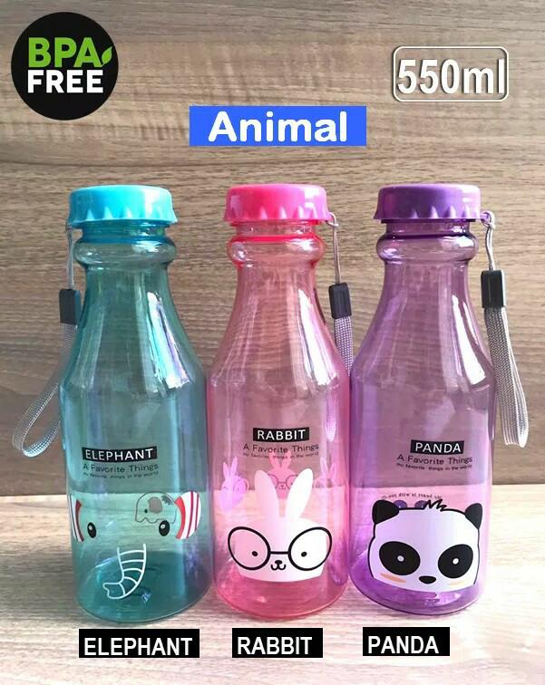 Botol Minum Anak Transparant 550ML Karakter Lucu
