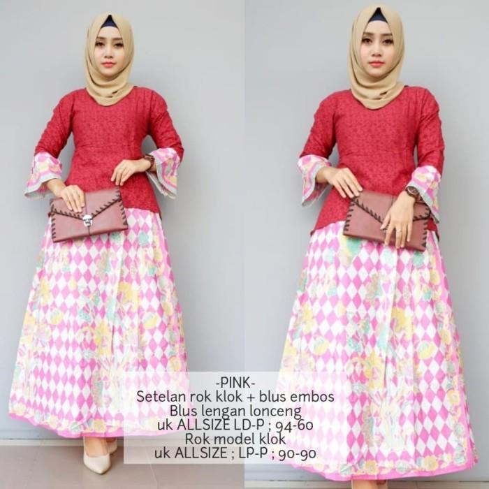 Jual Gamis Batik Bahan Katun Setelan Rnb Warna Pink Gb229 Diyas