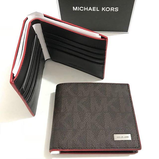 21d4e36eba10 Dompet michael kors original - Mk billfold wallet signature brown red