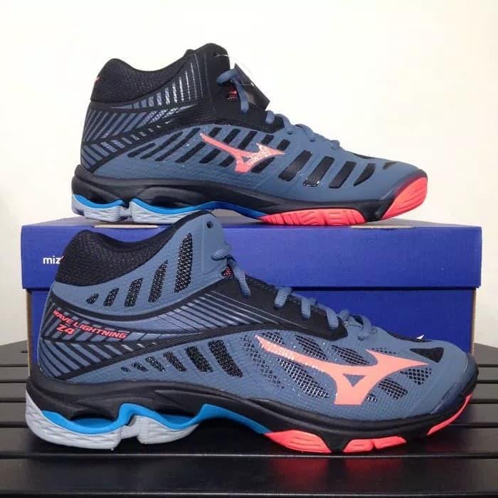harga Sepatu voli mizuno wave lightning z4 mid - blue mirage/fiery coral Tokopedia.com