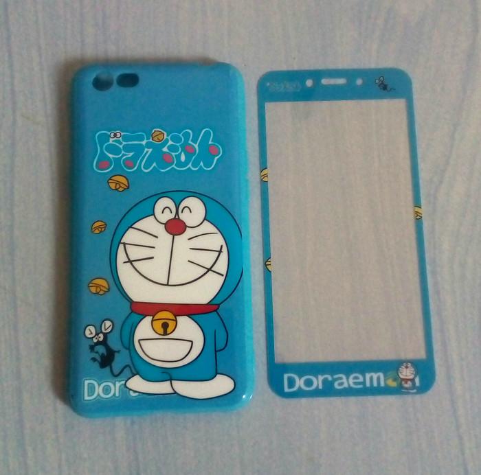 Oppo A71 Case Softcase 360 Plus Tempered Glass Karakter Doraemon Smile