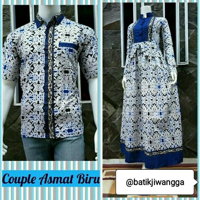 harga Baju couple sarimbit gamis batik asmat biru bahan katu busui Tokopedia.com