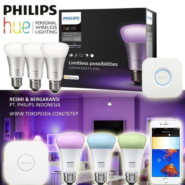 Foto Produk Philips Hue Starter Pack - 3 Lampu Bulb + 1 Bridge dari philipslampu