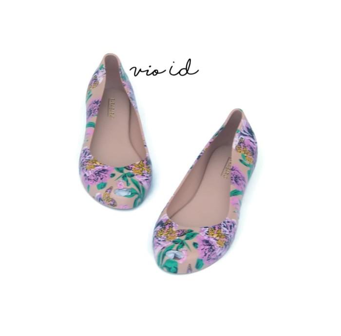 Flat Shoes Jelly Bara Bara Motif Bunga 1838MSB - Cokelat Tua, 39