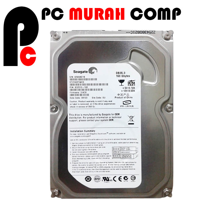 Foto Produk Hardisk Internal PC 160GB SATA SEGATE SLIM dari Pc Murah Comp