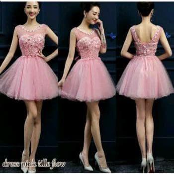 Jual Party Dress Pink Gaun Pesta Remaja Combi Tile Baju Pesta