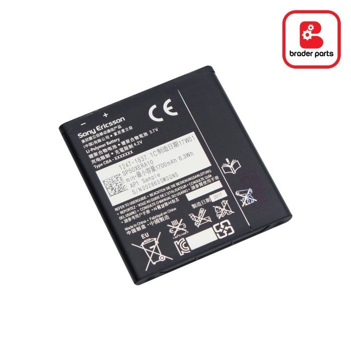 harga Baterai sony xperia s / lt26i / xperia v / lt25i ba800 Tokopedia.com