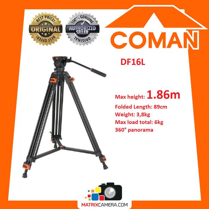 Foto Produk COMAN DF16L Professional True Fluid Video Tripod 186cm dari MatrixCamera
