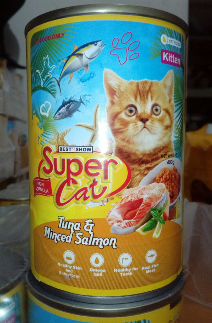 Makanan kucing supercat 400 gr 12 kaleng /1tray tuna and minced salmon