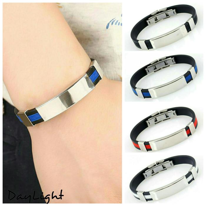 harga Gelang pria wanita bracelet couple pasangan silicone stainless steel 1 Tokopedia.com