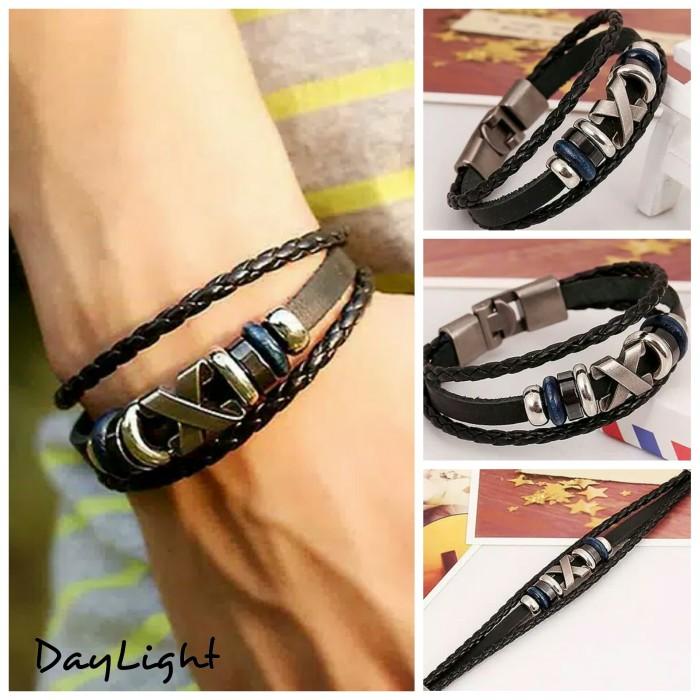 gelang kulit pria wanita couple leather bracelet multi layer wristband