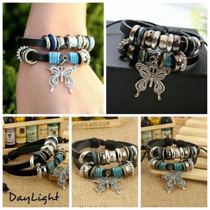 gelang kulit pria wanita couple leather bracelet multilayer butterfly