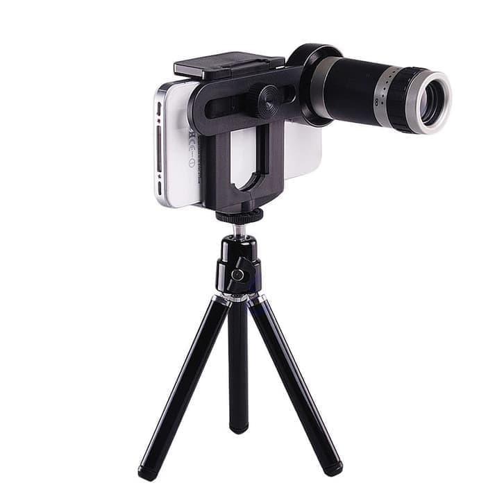 harga Lensa telezoom 8x + tripod+ holder all type handphone Tokopedia.com