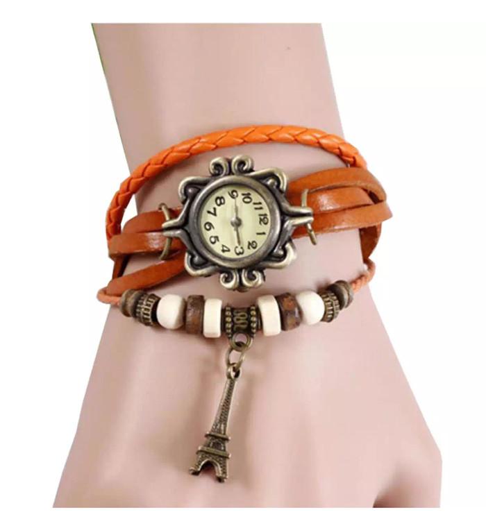 Jam Tangan Wanita Fashion Leather Strap Lilit Gelang - Orange