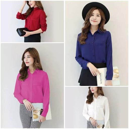 Azura Fashion Korean Style Plain Shirt Long SLeeve - Ummi