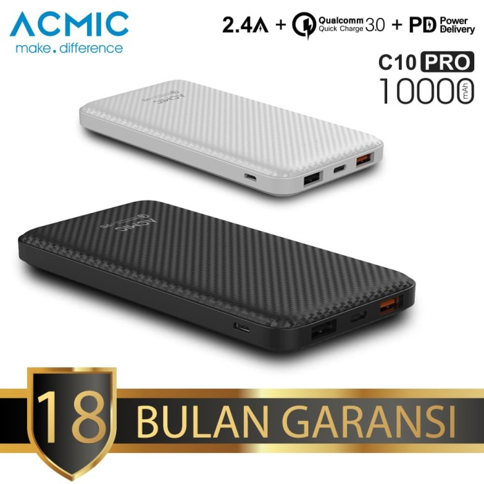 acmic c10pro 10000mah power bank quick charge 3.0 + pd power delivery - putih