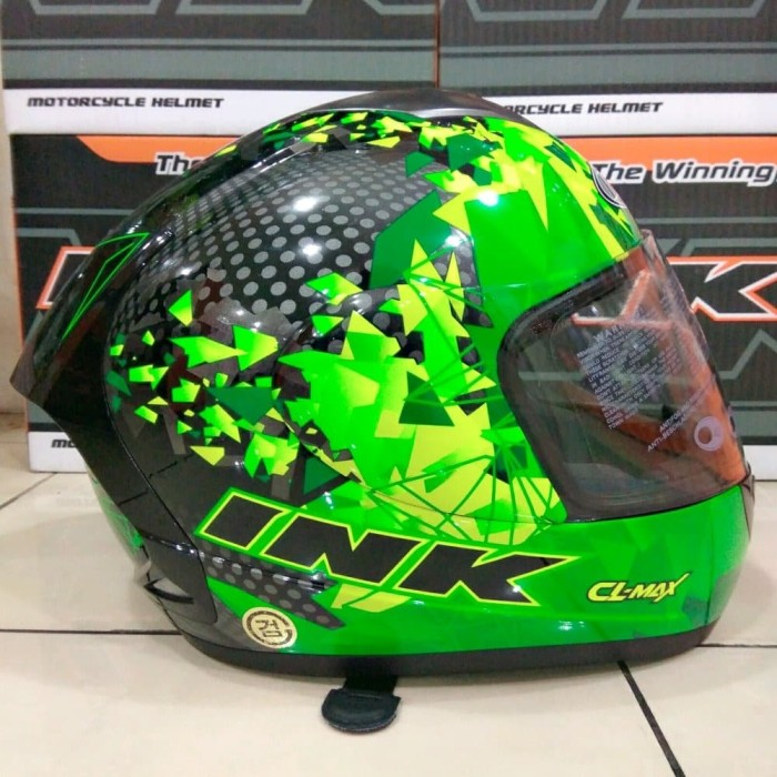 Helm INK CL MAX Seri 6 Black Green Fluo Limited Edition