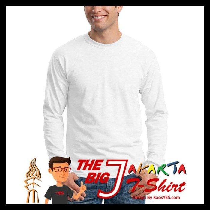 Kaosyes Kaos Polos T-Shirt O-Neck Lengan Panjang - Putih, S